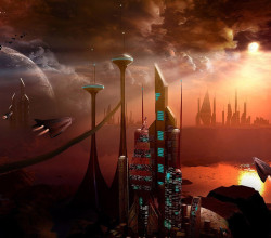 city-future-spaceship-aircraft-clouds-planet-dark-skyscraper-3d