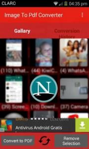 Captura de la pantalla de inicio de la app
