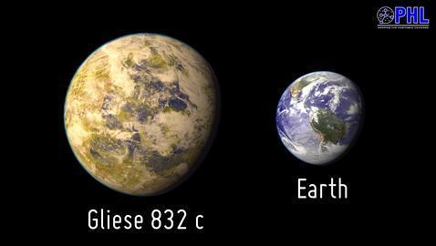 Gliese832c comparado con la tierra